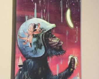 "Monkey Art - Giclee Canvas Print - Surreal Art - Wall Art - Chimp Art - ""Electric Banana"" by Black Ink Art"