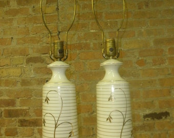 Pair of Ivory and Gold Ceramic Lamps