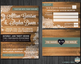 DIY Printable - Rustic Barn Wood Lace Wedding Invitation/RSVP Card - Indie - Shabby Chic - Vintage - Country - Texture - Wedding Invitation
