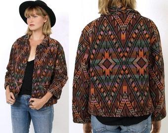 SALE 80's TRIBAL SouthWestern Woven Cotton 90's Ethnic Aztec Indian Blanket Short Jacket Oversized Medium