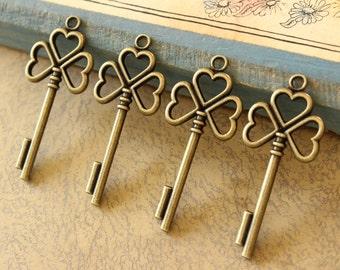 10 pcs Heart skeleton Keys Antique Brass Double sided