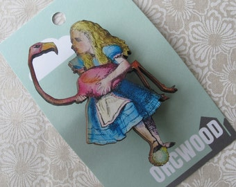 Wood Brooch - Alice playing Flamingo Croquet (Alice in Wonderland)