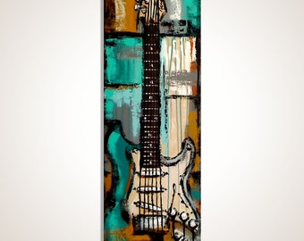 Guitar painting Turquoise Music Art Gift for a musician Guitar wall art  Original Guitar Art Music painting on canvas MADE to ORDER