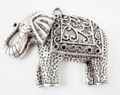 Large Ethnic Elephant Pendant - Matte Silver Plated - 1PC