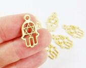 8 Medium Hamsa Hand of Fatima Charms Star of David - 22k Matte Gold Plated