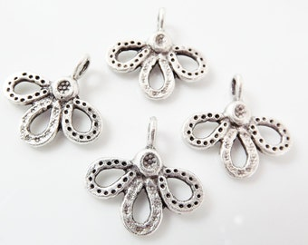 4 Three Petaled Flower Charms - Matte Antique Silver Plated