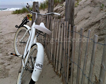 White Beach Bicycle - Seaside Cruiser Bike and Dune Fence Cottage Coastal Chic Art Photography Island sand Seaside by the OCEAN neutrals