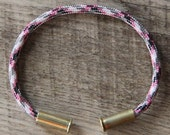 BRZN Bullet Casing Bracelet Barbie Camo recycled .22lr shells pink white gray black camo 550 paracord wire men women
