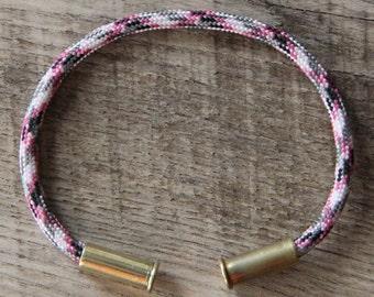 BRZN Bullet Casing Bracelet Barbie Camo recycled .22lr shells pink white gray black camo 550 paracord wire men women