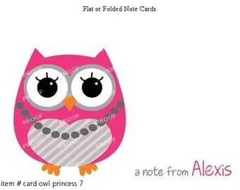 Pink Gray Princess Owl Note Cards Set of 10 personalized flat or folded cards