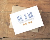 Mr and Mr Congratulations Wedding Card. Gay Wedding Card. Same Sex wedding card. LGBT Card. Blue and Yellow