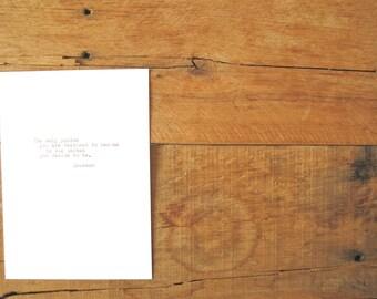 Hand typed Print.5x7 wall print. Ralph Waldo Emerson.
