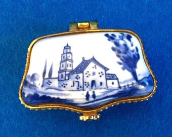 Vintage porcelain golden blue country landscape pill box