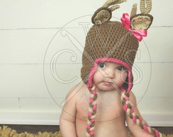 Adorable Girls Ear Flap Style Crochet Deer Hat with Tassels and Bow!