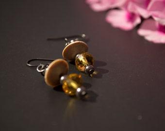 UFO Disc Earrings - Retro Gunmetal Black Metal Bronze Wood Chrystal Dangle Earrings