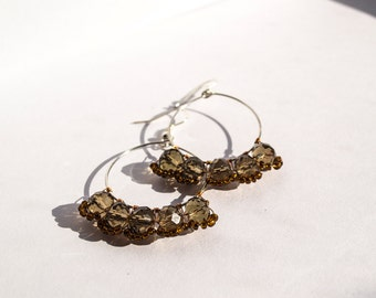 Chrystal Spark - Hoop Boho Chick Shiny Dazzling Dangle Beaded Earrings