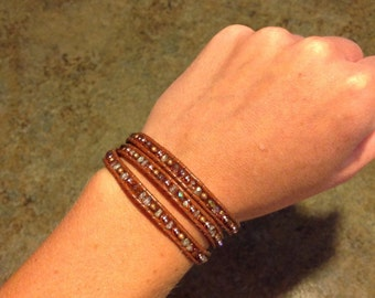 Beaded Leather Wrap Bracelet - Three Wrap