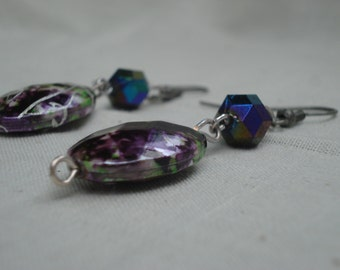 Pin earrings with purple and green acrylic beads