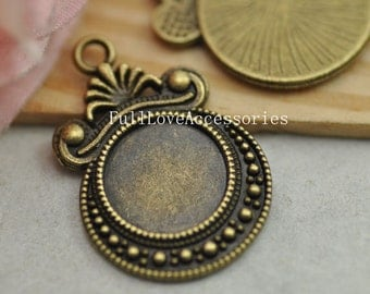 10pcs Antique Brass Cameo Cab Bezel Setting Frame fit 12mm Cabochon Setting, Pendant Setting, Bezel Setting, Cabochon Base Setting