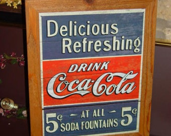 FREE SHIPPING Coca Cola custom framed solid cedar wood 15X18 man cave metal Delicious sign oak finish country rustic wall hanging display