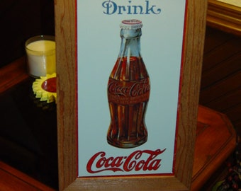 FREE SHIPPING Drink Coca Cola custom framed solid cedar wood  metal  sign oak finish country rustic wall hanging display