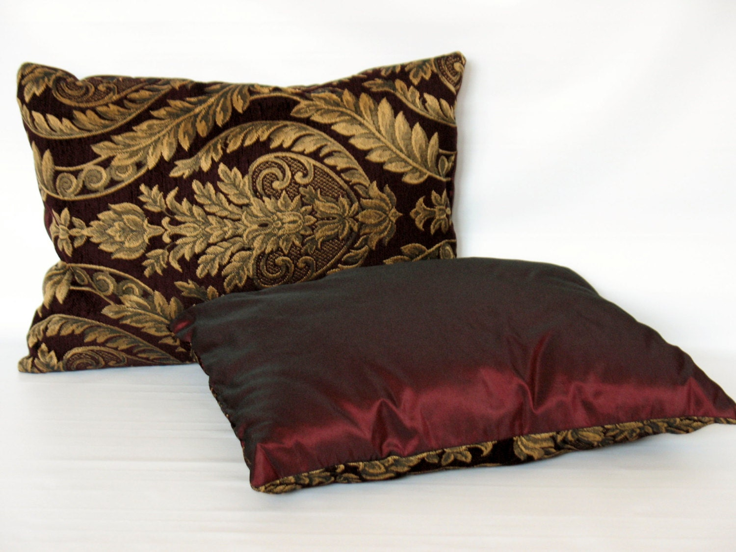 Gold and Burgundy Decorative Pillow with Classic Leaf and