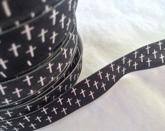 Black with Cross 5/8 Inch Fold Over Elastic