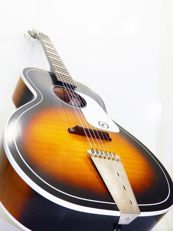 vintage kay flat top guitar with floating bridge by rubesrelics. Black Bedroom Furniture Sets. Home Design Ideas