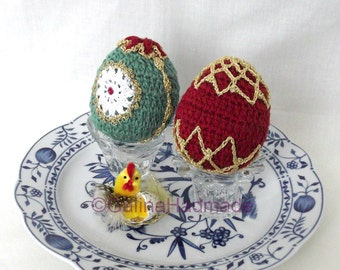 OOAK Easter Eggs  (set of 2) Colorful Crochet