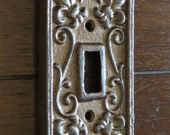 Aged Copper Light Switch Cover / Light Plate Cover / Cast Iron / Wall Decor / Fleur de lis Pattern