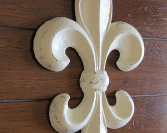 Fleur de Lis Wall Decor/Creamy White or Pick Your Color /Cast Iron Wall Decor/Paris Apartment/French Country Style/ Fleur de Lis Sign