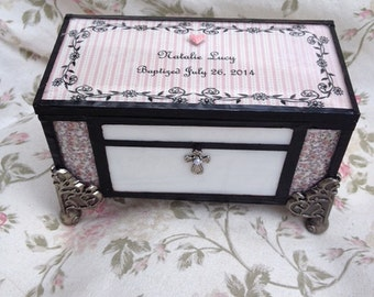 stained glass baptism christening memory keepsake jewelry shabby chic cottage chic box