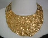 Impressive NAPIER Rich Goldtone Golden Nugget Hammered Waved Abstract Art Design 4-Strand ChainLink Couture Runway Bib Collar Necklace HUGE