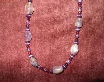 Glass Bead Purple Necklace