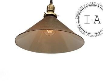 Vintage Industrial Hanging Porcelain Enamel Ceiling Lamp
