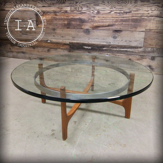 Vintage Mid Century Modern Round Clear Glass Top Coffee Table