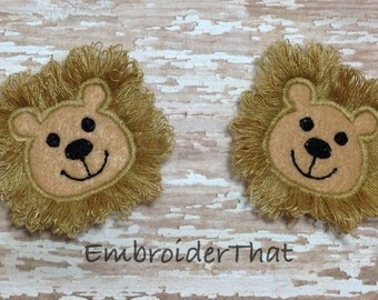UNCUT EXCLUSIVE Fuzzy lion felt applique embellishment hair bow center Finished/cut  feltie patch (2)