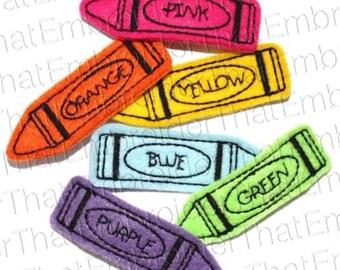 UNCUT Back to School Crayon felt appliqué embellishments (4)
