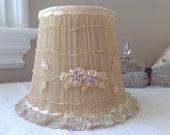Antique pink ribbon work shabby cottage boudoir lamp shade