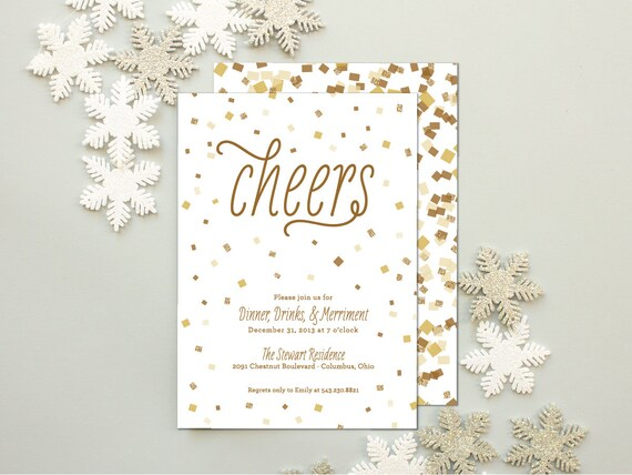 New Year's Party Invitation, Confetti and Glitter Invitations for Winter Parties, Holiday Cocktail Party Invite  - Confetti Cheer