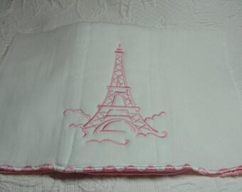 Pink Eiffel Tower Burp Cloth