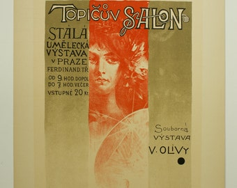 Viktor Oliva, Maitres de L'Affiche Poster, Plate No. 100, 1898. Czech poster for an art exhibit at the Topic Salon in Prague c.1896.