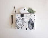 Cosmetics pouch Hand printed canvas Plants and Geometric stamp Zipper pouch natural