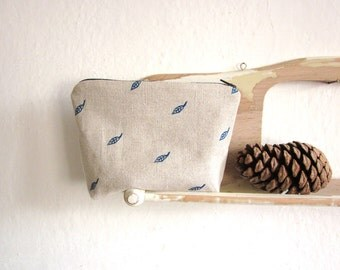 Blue leaves Zipper pouch, Pencil case, Hand printed linen, cosmetics pouch, beetle, bug, Hand stamped