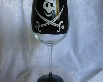 Pirate Hand Painted Wine Glasses