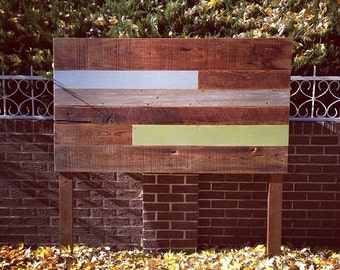 Reclaimed Wood Headboard Brown, Blue, and Green