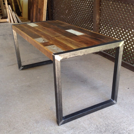 Reclaimed Wood Table Or Desk Square Metal Legs By