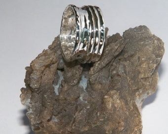 Hammered 2 band Sterling Silver  Spinner Ring- Stamped.925 Handcrafted