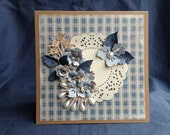 Kraft Cards & Light Blue shades embellished with handmade paper flowers and ivory pearls
