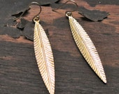 Clearance Sale! Gold feather Earrings - Long gold leaf - Skinny Leaf - Bohemian Jewelry